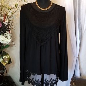 No Boundaries Black Lace Top